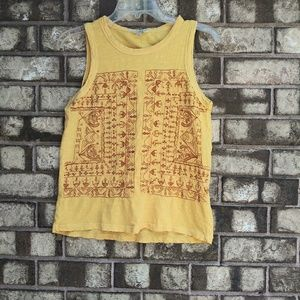 Lucky Brand yellow embroidered top size small